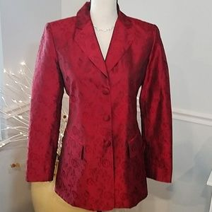 STUNNING Neiman Marcus Red Silk Jacket, size 4